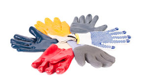 Various rubber worker gloves. Stock Photography