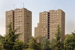 1960s style apartment blocks, milan, italy Royalty Free Stock Image