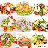 Various salads collage Stock Photography