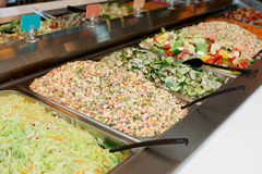 Various salads in gastronomical containers Stock Photo
