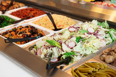 Various salads in gastronomical containers Royalty Free Stock Image