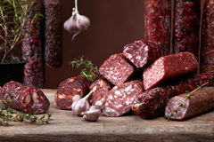 Various salami sausages Stock Photography