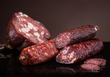 Various salami sausages Stock Image