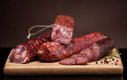 Various salami sausages Royalty Free Stock Photography