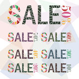 Various Sale discount made by fraction of colorful Royalty Free Stock Photo