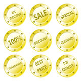 Various sales seals. Icon set of golden quality sale, guaranteed, best price, all inclusive, discount seals Stock Illustration