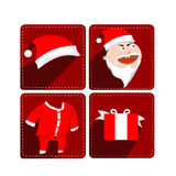 Various Santa Claus Accessories. Cartoon Santa Claus Accessories or Christmas Symbol Icons stock illustration