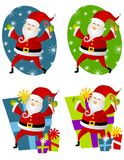 Various Santa Claus Clip Art 2. A clip art illustration of your choice of 4 Santa Claus characters - top 2 holding candy canes against blue and green oval Royalty Free Stock Photos