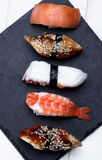Various Sashimi Sushi Royalty Free Stock Photos