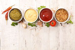Various of sauces. Close up on various of sauces stock photography