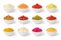 Free Various Sauces Set In The White Bowls Isolated Royalty Free Stock Images - 106625839