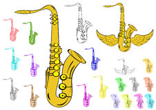 Various saxophones clipart Stock Photos