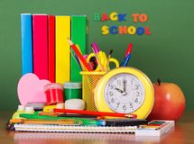 Various School Accessories On The Desk Royalty Free Stock Images