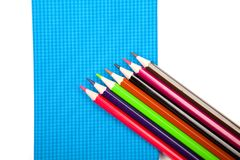 Various school notebooks,  pens and pencils Royalty Free Stock Photos