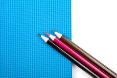 Various school notebooks,  pens and pencils Royalty Free Stock Photography