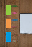 Various school supplies arranged on wooden table Royalty Free Stock Photo