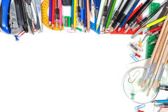 Various school supplies in a frame for text. Royalty Free Stock Photo