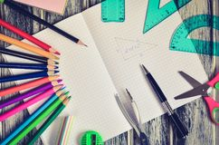 Various school supplies. Notebook and mathematical and school accessories royalty free stock photos