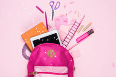 Various school supplies in schoolbag. Close up view of various school supplies in schoolbag Stock Photography