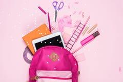 Various school supplies in schoolbag Stock Photography