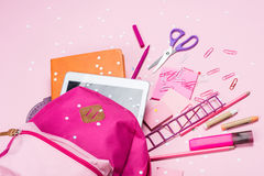 Various school supplies in schoolbag Royalty Free Stock Photography