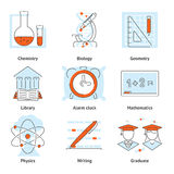 Various School Themed Graphic Icons Stock Photography