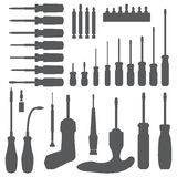Various screwdriver silhouette set Royalty Free Stock Photography