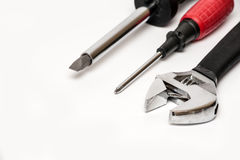 Various screwdrivers and monkey wrench isolated close up Royalty Free Stock Photos