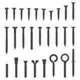 Various screws silhouettes set vector illustration