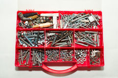 Various Screws in Tool Box Stock Photo