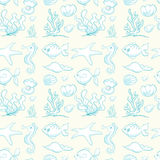Various sea animals and plants. Illustration of various sea animals and plants on white background Royalty Free Stock Image