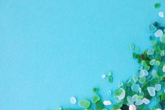 Free Various Sea Glass Pieces On Blue Background Stock Photo - 153653750