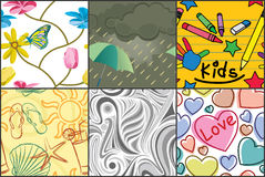 Various seamless patterns stock illustration