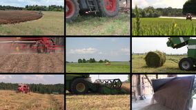 Various seasonal agricultural works. Clips collage. Various seasonal agricultural works. Farm machinery in field. Montage of video clips collage. Split screen stock video footage