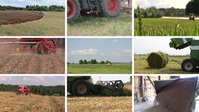Various seasonal agricultural works. Video clips collage. Various seasonal agricultural works. Farm machinery in field. Montage of video clips collage. Split stock video