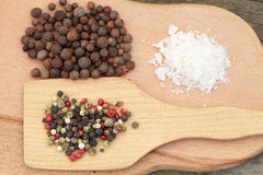 Various seasonings on wooden background Stock Images