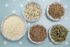 Various seeds in shiny bowls Stock Photos