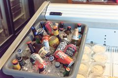 Various selection imported and domestic beer bottle can in ice c royalty free stock photos