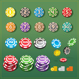 Various set of colorful poker chips - vector Royalty Free Stock Image