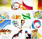 Various set of geometric abstract backgrounds. Swirls waves lines geometric shapes and other Stock Photos