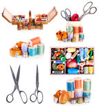 Various sewing accessories : old scissors, buttons, threads on w Stock Photo