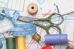 Various sewing accessories in the scheme Royalty Free Stock Photography