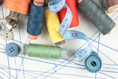 Various sewing accessories in the scheme Royalty Free Stock Images