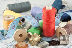 Various sewing accessories in the scheme Stock Photography