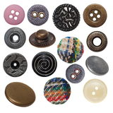Various sewing button and metal  jeans buttons Stock Photo