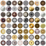 Various sewing buttons isolated on white. Mega set of realistic metal round button set. 3d illustration. vector. Various sewing buttons isolated on white. Mega Stock Photos