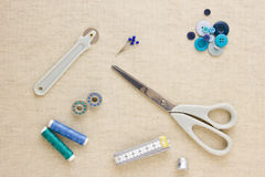 Sewing accessories in blue tones Stock Image