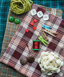 Various sewing supplies. Royalty Free Stock Image