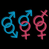 Various sexual orientations icons. Various sexual orientations three icons Stock Photo