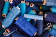 Various shades of blue threads Stock Photos